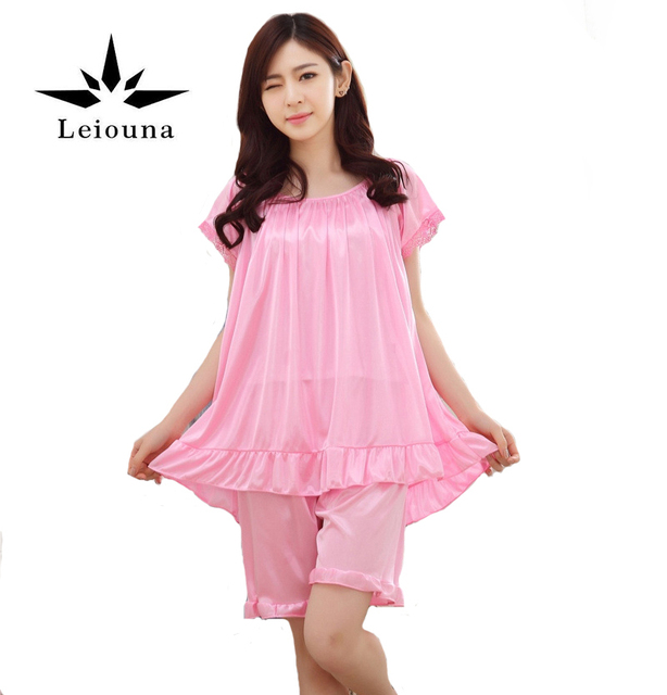 New Top Quality Fold Silk Pajama Sets Lady Night Suits Shorts Transparent  Breathable Women Lounge Wear Comfortable Sleeping 92140e2d5