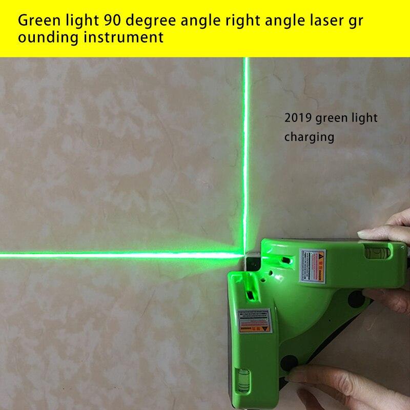 Laser vert rechargeable 90 degrés règle laser angle droit ligne de sol niveau vert/niveau/90 degrés ligne d'angle
