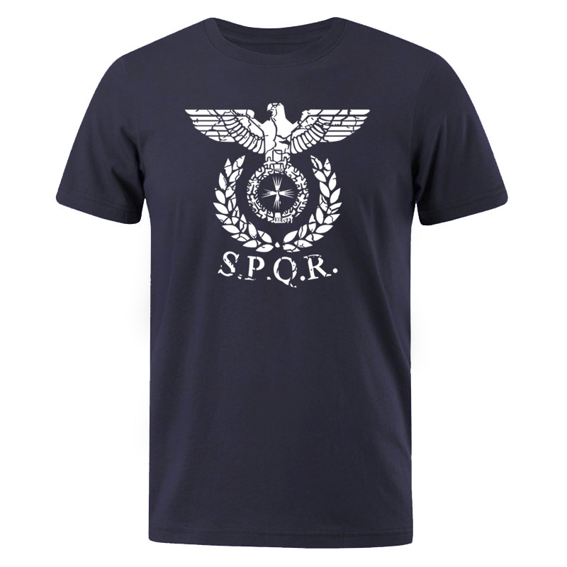 Men T-Shirt SPQR Roman Gladiator Imperial Golden Eagle 2019 Summer T Shirt Mens Casual Short O-Neck T-Shirts Harajuku Tops Tees