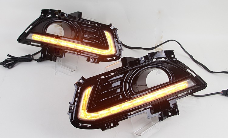 Free Shipping DRL Styling for Ford Mondeo Fusion 2013 2016 LED Daytime Running Light Turn Signal function With Fog Lamp Hole in Car Light Assembly from Automobiles Motorcycles