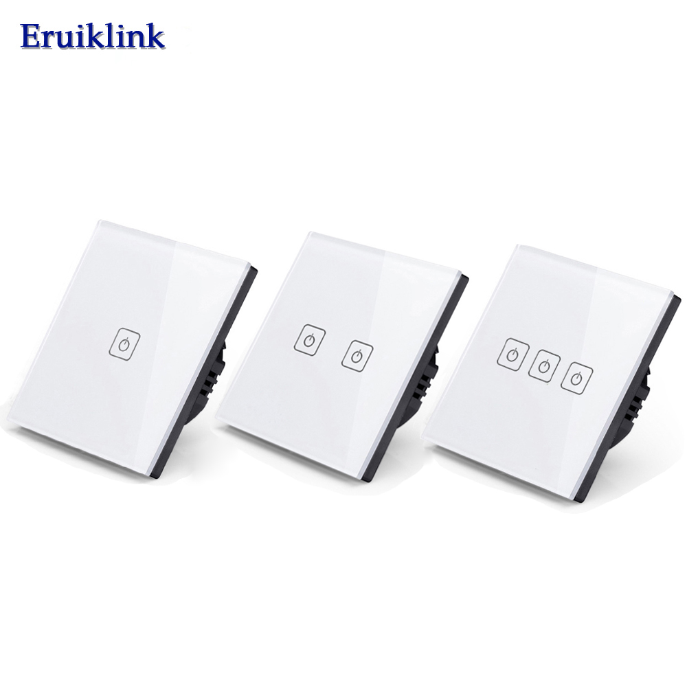 EU/UK Standard Eruiklink Touch Switch 1 Gang/2 Gang/3 Gang 1 Way,Single Fireline Wall Light Switch,White Crystal Tempered Glass smart home uk standard crystal glass panel wireless remote control 1 gang 1 way wall touch switch screen light switch ac 220v