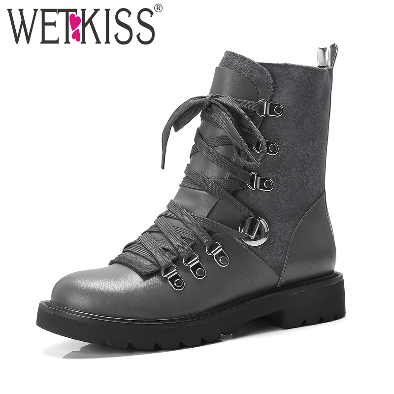 WETKISS Thick Heels Women Ankle Boots Round Toe Footwear Cow Leather Female Army Boot Motorcycle Platform Shoes Woman Winter