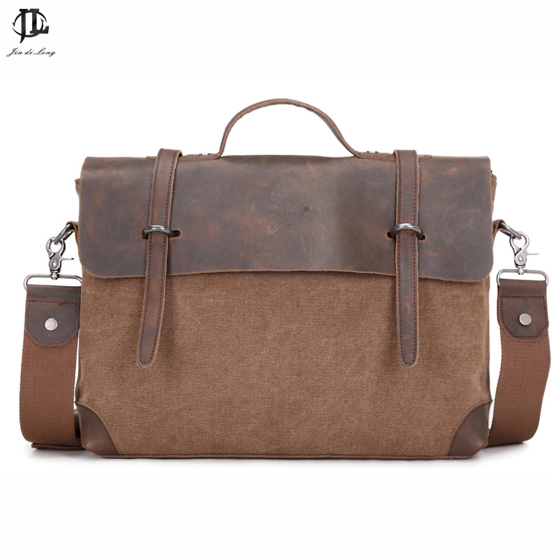 2018 New Crazy Horse Genuine leather Canvas Vintage Men Briefcase Handbag Bussiness Shoulder Laptop Messenger Zipper Ipad Bag vintage genuine leather men briefcase bag business men s laptop notebook high quality crazy horse leather handbag shoulder bags