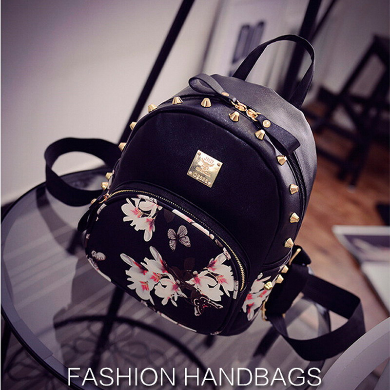 2017 New Fashion  Flower Butterfly Printing Women's Small Leather Backpack Rivet Girl Schoolbag Ladies Travel Mini Backpacks Bag