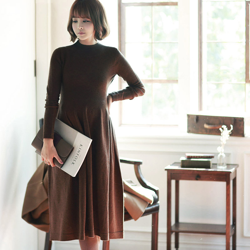 BONJEAN Fashion Maternity Dress Autumn Winter Cotton Knitted O-neck Long Sleeve Sweater Dress For Pregnant Women Elegant Dress