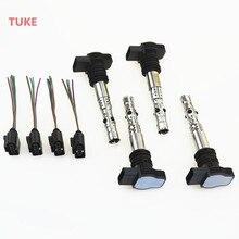 TUKE 4 Conjunto Bocal Do Motor 1.8 T Bobina De Ignição & Cabos Plug Para VW Beetle Golf Jetta Bora MK4 Passat B5 A4 A6 06B905115T 1J0973724