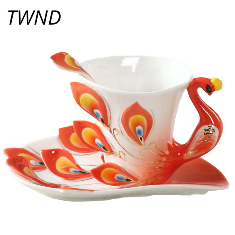 Us 14 25 43 Off Enamel Peacock Coffee Mugs Procelain Cups And Mugs With Saucer Spoon Creative Home Office Mark Drinkware Home Decorative In Mugs