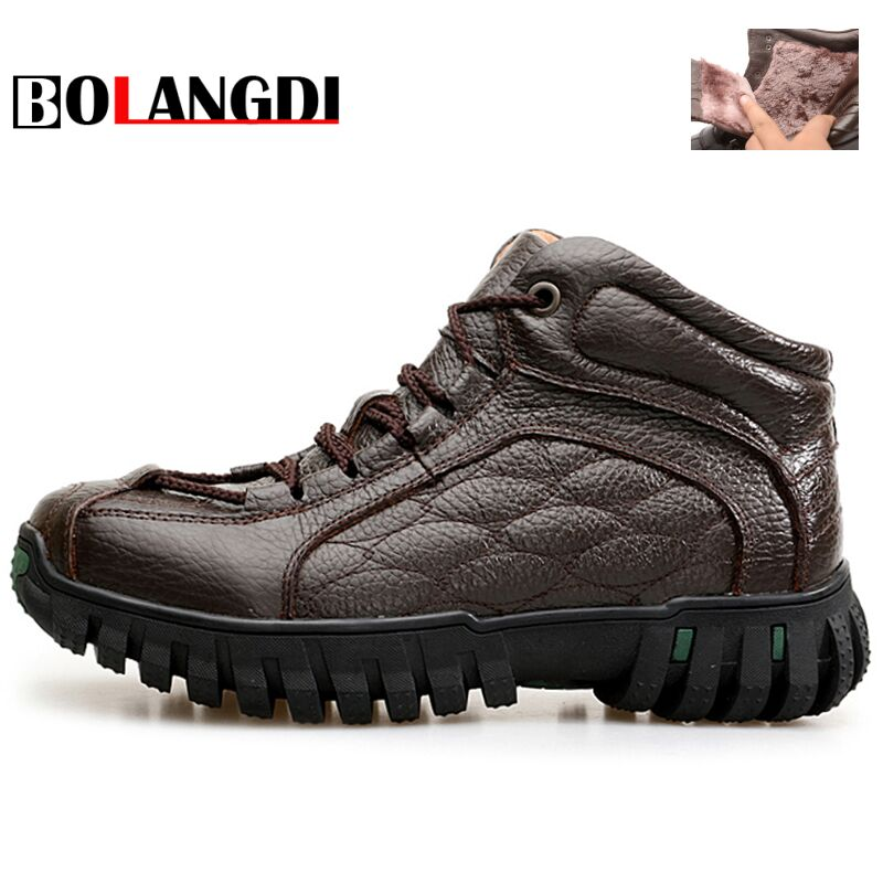 Bolangdi New Outdoor Genuine Leather Plush Men Hiking Shoes Winter Walking Jogging Shoes Mountain Sport Boots Climbing Sneakers big size 46 men s winter sneakers plush ankle boots outdoor high top cotton boots hiking shoes men non slip work mountain shoes