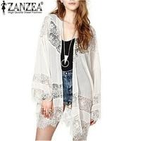 New Brand 2015 Womens Casual Vintage Boho Kimono Cardigan Lace Crochet Chiffon Loose Outwear Blouse Tops