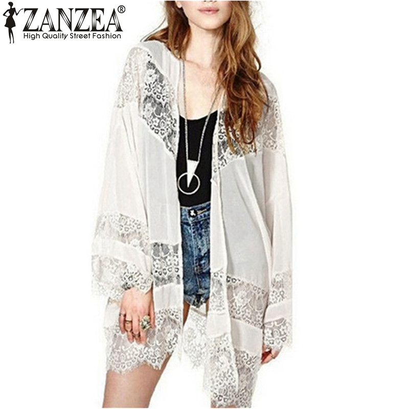 New Brand 2018 Womens Kasual Vintage Boho Kimono Cardigan Lace Crochet Chiffon Longgar Outwear Blouse Tops Plus Size S-5XL