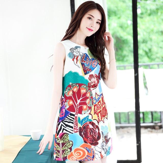 6cf8d7999 Quality 2018 New Designer Fashion Summer Runway Dress Women's sleeveless  pattern print sequin Tank dress