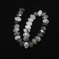 Natural Black Rutilated Quartz Loose Beads Beauty Stones Pendants,15.5