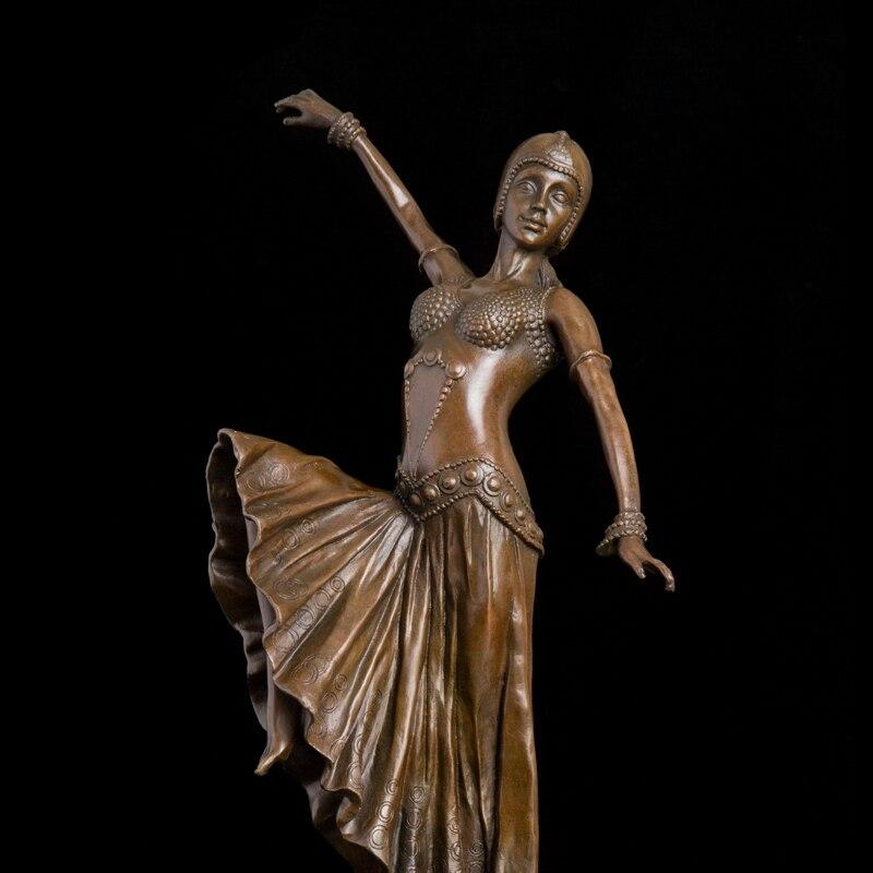 Artisanat cuivre Bronze art danse statue jupe fille sculpture danseur fait à la main cire perdue antiquités souvenir bureau décoration c