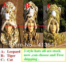 2016 Fashion Lovely New Plush Animal HatsTiger leopard Cartoon Soft Warm font b Hats b font