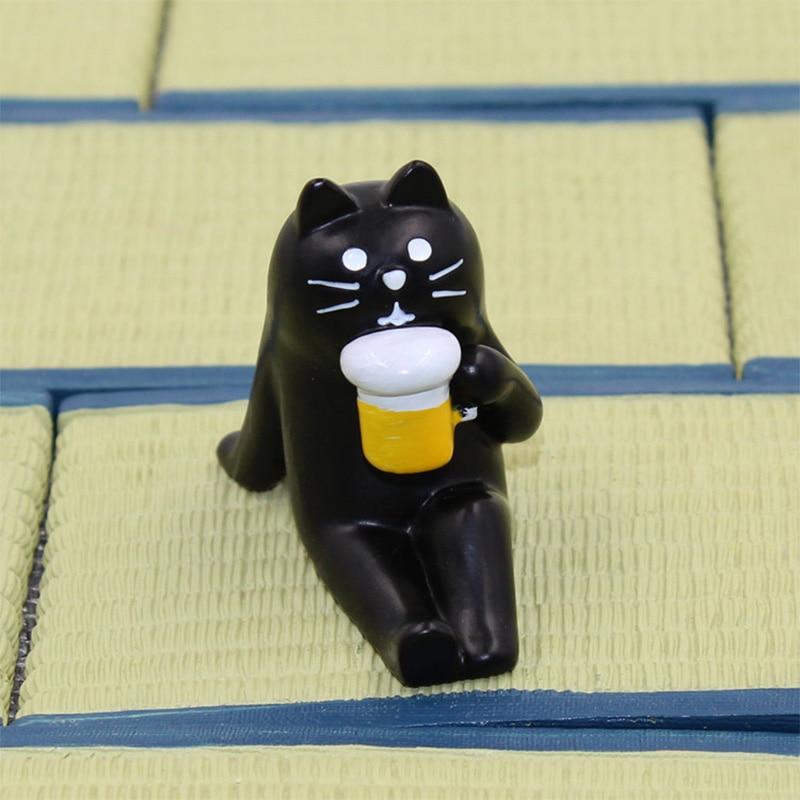 Decole Black Cat Bear Hedgehog Miniature figurine Japan Zakka Animal Home Decoration Garden Resin craft toy Bonsai Ornaments
