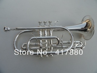 Exquisite Brass Trumpet Bb B Flat with Mouthpiece Gloves Musical Instruments Double Trigger Cornet Silvering Trumpet