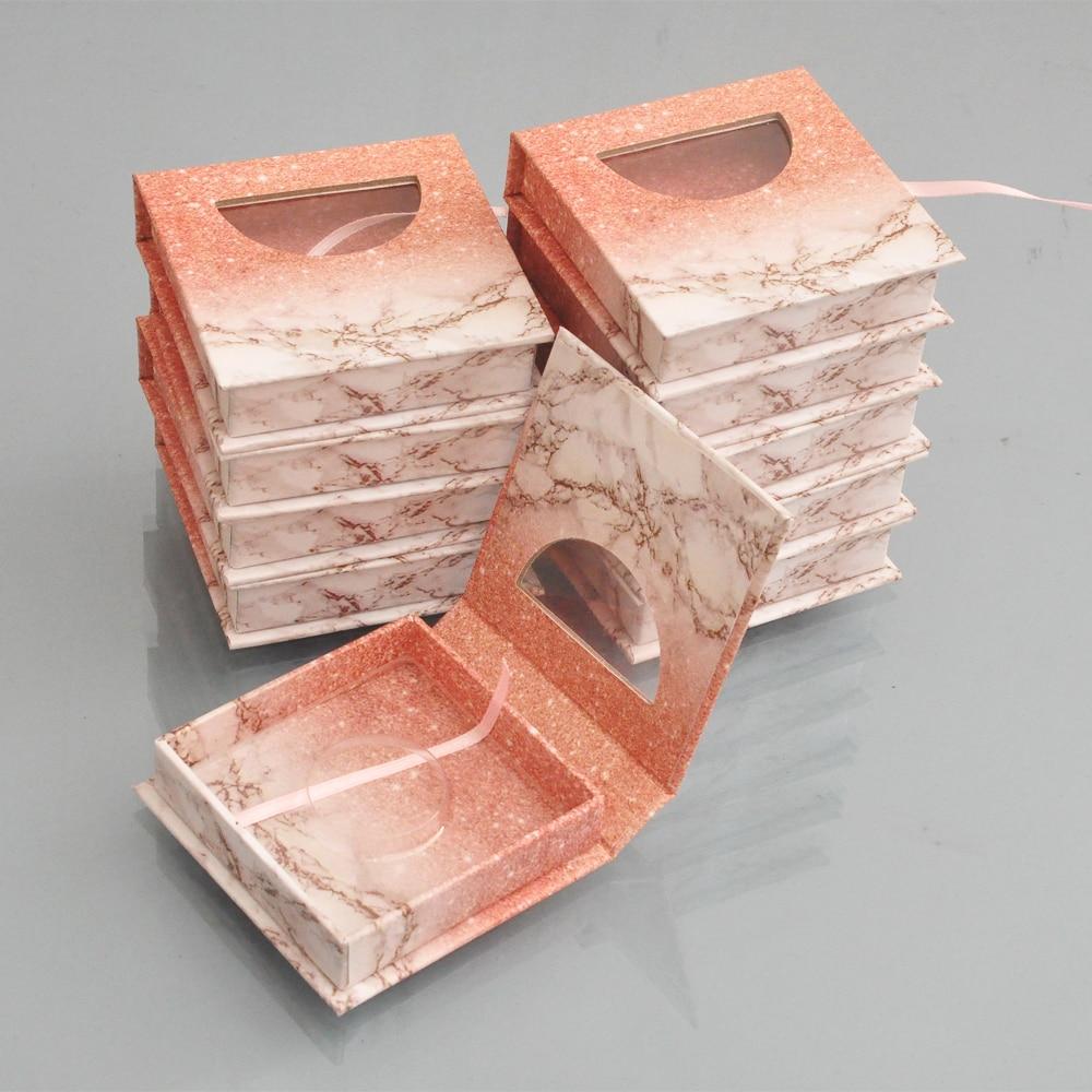 Customized Eyelash Packaging Box Free Logo Individual False Mink Eyelashes Extension Strip Square Magnetic Cosmetic Case Empty