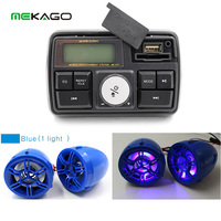 Motorcycle Audio System Speakers Handlebar Audio System FM Radio Motorcycle FM Audio MP3 Speaker Audio System Accessories(Blue)