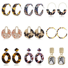Exaggeration Vintage Za Leopard Earrings Geometric Statement Acrylic For Women 2019 Fashion Female Jewelry