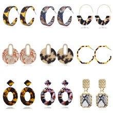 купить Exaggeration Vintage Za Leopard Earrings Geometric Statement Acrylic Earrings For Women 2019 Fashion Female Earrings Jewelry дешево