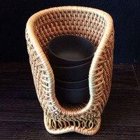 Strumenti di tè rattan tazza rack di stoccaggio titolare Antico coppe copertura piccolo tè tazze scatola di immagazzinaggio cerimonia del tè ricambi artigianato handmade