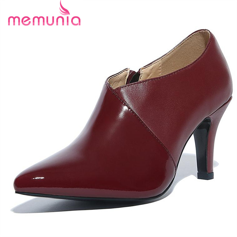 ФОТО MEMUNIA 2017 Pointed toe zipper high heels shoes genuine leather women pumps big size 34-45 party contracted sexy single shoes