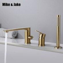Gold pinsel Badewanne wasserhahn mischer mit hand dusche doppel funktion badewanne wasserhahn set deck montiert bad dusche tap MJ04112BG