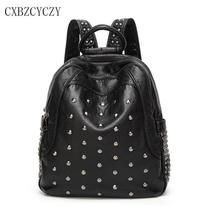 2017 Genuine Leather Women Backpack Soft Skin School Bags For Teenagers Girls Female Travel Back Pack Rivet Shoulder bag Mochila women bag backpacks female genuine leather backpack women school bags for teenagers girls travel bags rucksack mochila femininas