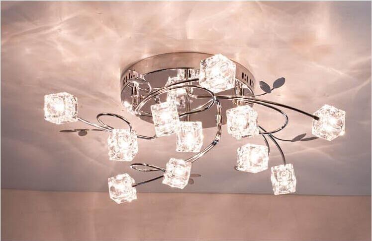 New 13Lights Crystal Cube Ceiling Light Lamp Living room bedroom ...