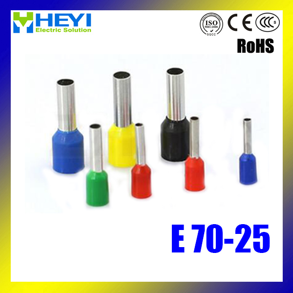 Top quality 100pcs/lot E70-25 AWG#210 Tube Insulated End Terminals Copper Crimp Terminals 25 35 50mm2 awg3 0 vh2 50wf insulated