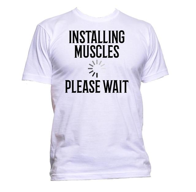 582a578d 2019 New Men's T Shirt Installing Muscles Please Wait Gymnast Fitness  Slogan T-Shirt Mens Womens Unisex Print T-Shirt
