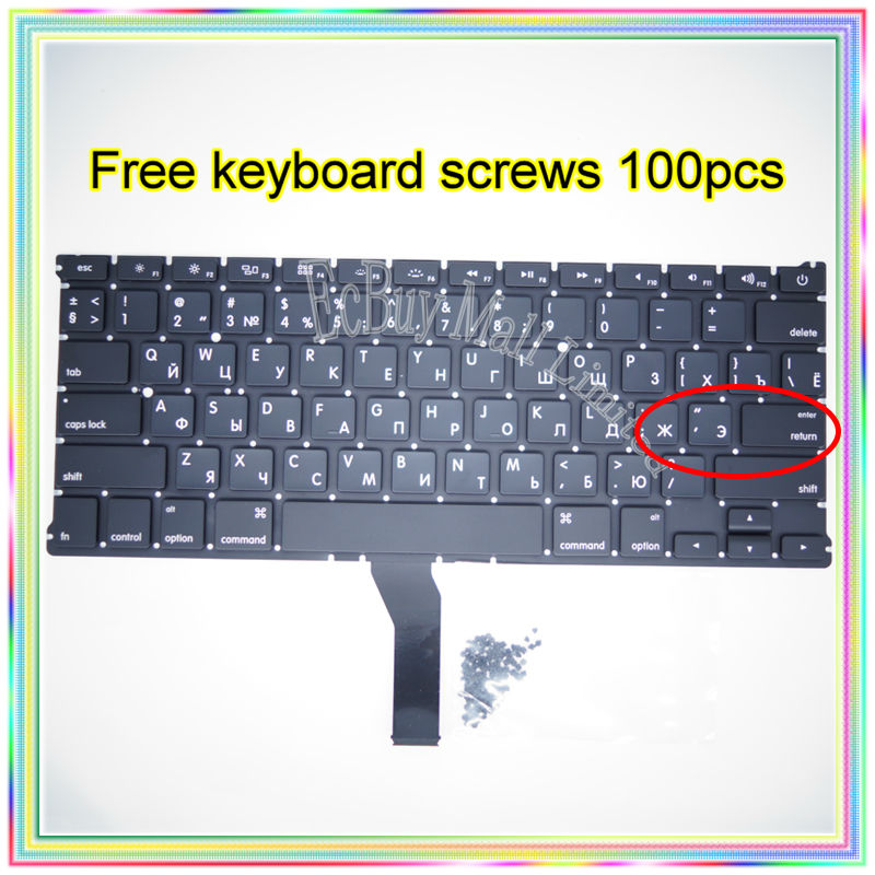 "Brand New Small Enter RS Russian keyboard+100pcs keyboard screws For MacBook Air 13.3"" A1369 A1466 2011-2015 Years"