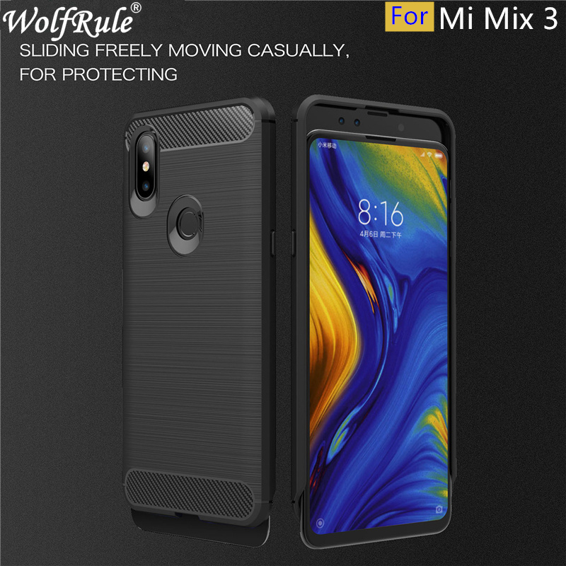 Xiaomi Mi Mix 3 Case Tough Bumper Carbon Fiber Case For Xiaomi Mi Mix 3 Cover Soft Silicone TPU Coque On Mi Mix 3/Mi Mix3 6.39
