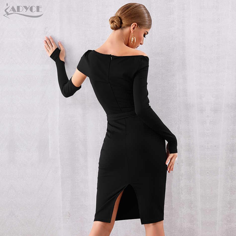 Женское бандажное асимметричное платье ADYCE, черное облегающее клубное платье с прорезями, вечернее платье с вырезом лодочкой и длинным рукавом, платье для вечеринки в стиле знаменитостей, для осень, 2019