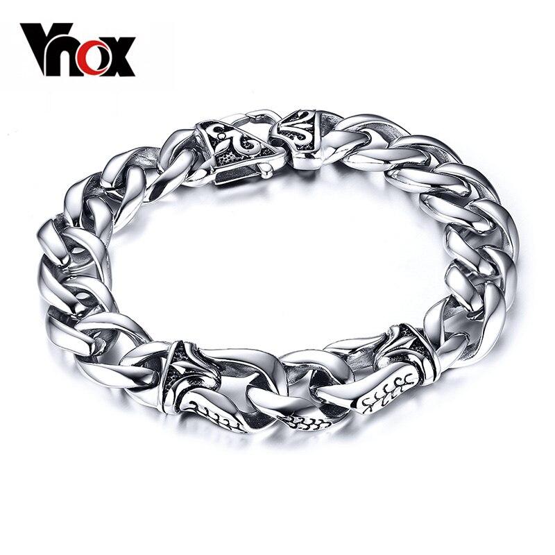 Prix pour Vnox Mens Bracelet Poignet Chunky Chaîne Gourmette Bracelets Pulseiras masculinas 316L Bijoux En Acier Inoxydable Cadeau