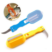 1pc Multifunctional Fish Scale Cleaner Plastic Kitchen Fish Skin Scraper Brush Shaver With Cover Knife Seafood Tool Color Random