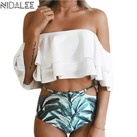NIDALEE High Waist Bikini Set Women 2017 Doubledeck Flouncing Push Up Swimsuit Two Piece Ruffle Off