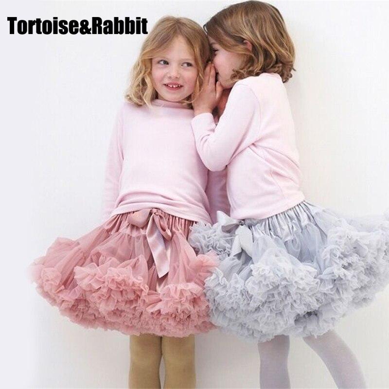 Новый Юбка-пачка для маленьких девочек балерина Pettiskirt Слои пушистый Детские балетные юбки для вечерние танец принцессы из тюля для девочек мини-юбка