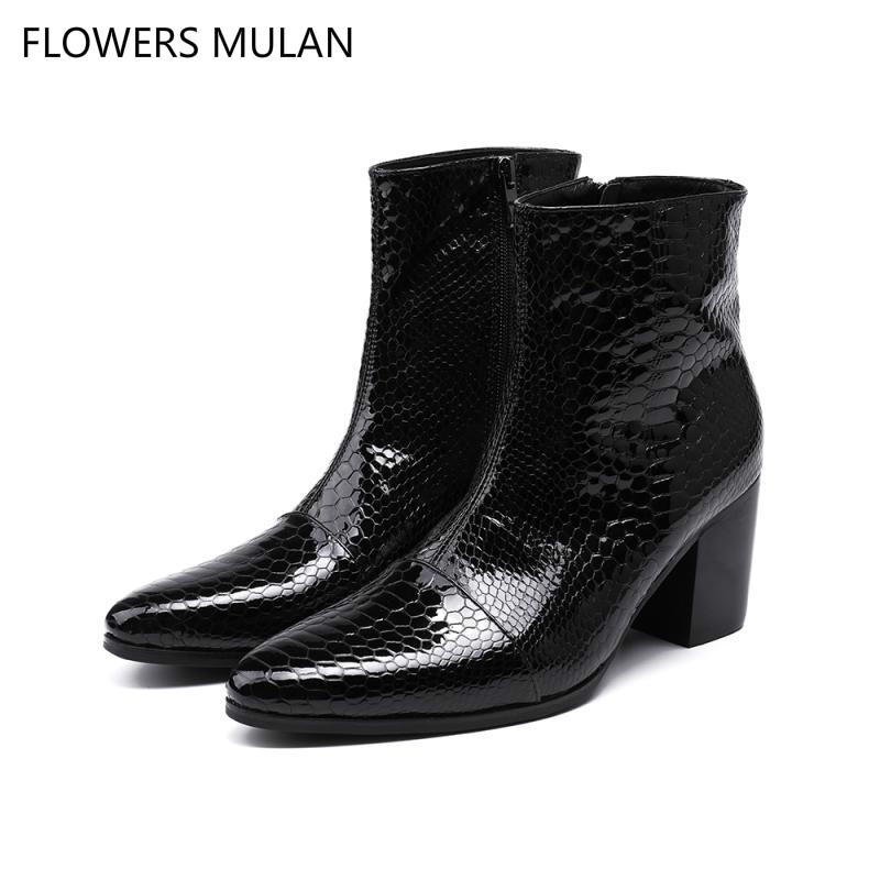 Fashion New Black Embossed Snake Pattern Leather Ankle Boots For Men Pointed Toe Sewing Male British Martin Boot Boy Footwear serene handmade winter warm socks boots fashion british style leather retro tooling ankle men shoes size38 44 snow male footwear