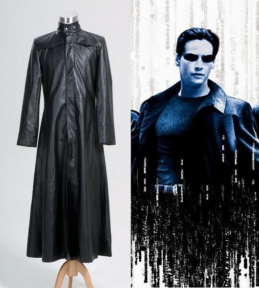 e61e375ac8d Hot Sale Matrix Neo Long Black Leather Coat Costume Cosplay-in Anime ...