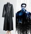 Matrix Neo largo negro escudo de cuero traje película Cosplay