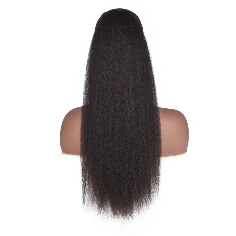 AliLeader Long Afro Puff Ponytail Hair Kinky Natural Hair Synthetic Kinky Straight Drawstring Ponytails With Clip Elastic Band(China)