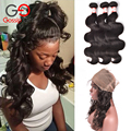 Malaysian Body Wave With Closure 360 Frontal With Bundles Wet And Wavy Human Hair Malaysian Virgin Hair With Closure Gossip Girl