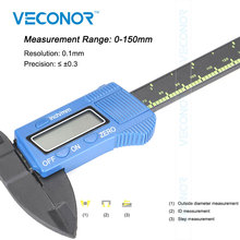 Big discount 150mm 6 inch electronic digital LCD caliper vernier carbon fiber micrometer gauge for DIY use