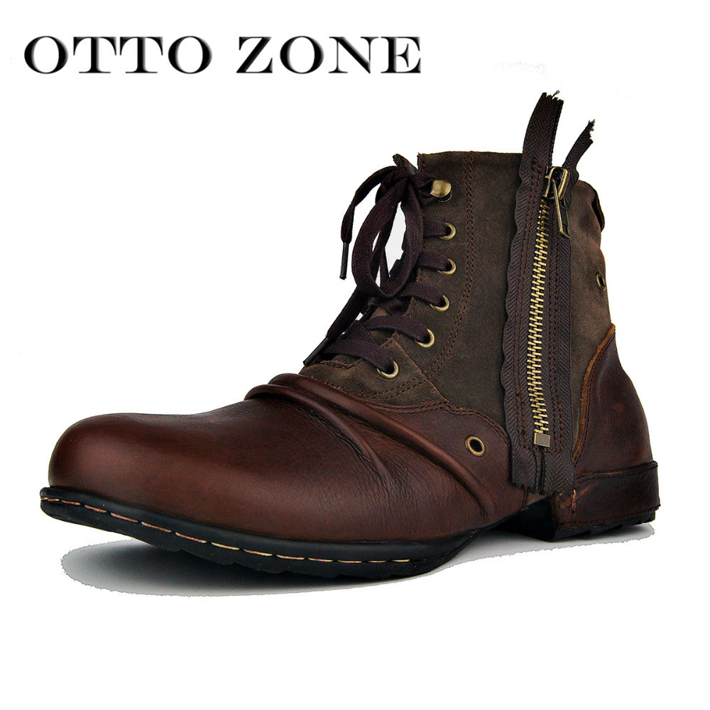 Men Boots Genuine Leather Men Shoes Handmade Ankle Boots