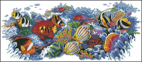 Vá, DIY Cross Stitch, Thiết Ví Thêu kits, 11CT & 14CT & 16CT & 18CT, Nhiệt Đới cá