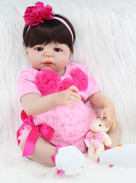 Muñeca Reborn – 55 cm – Cuerpo Entero De Vinilo – Piel Clara – Ojos Abiertos – Pelo Castaño