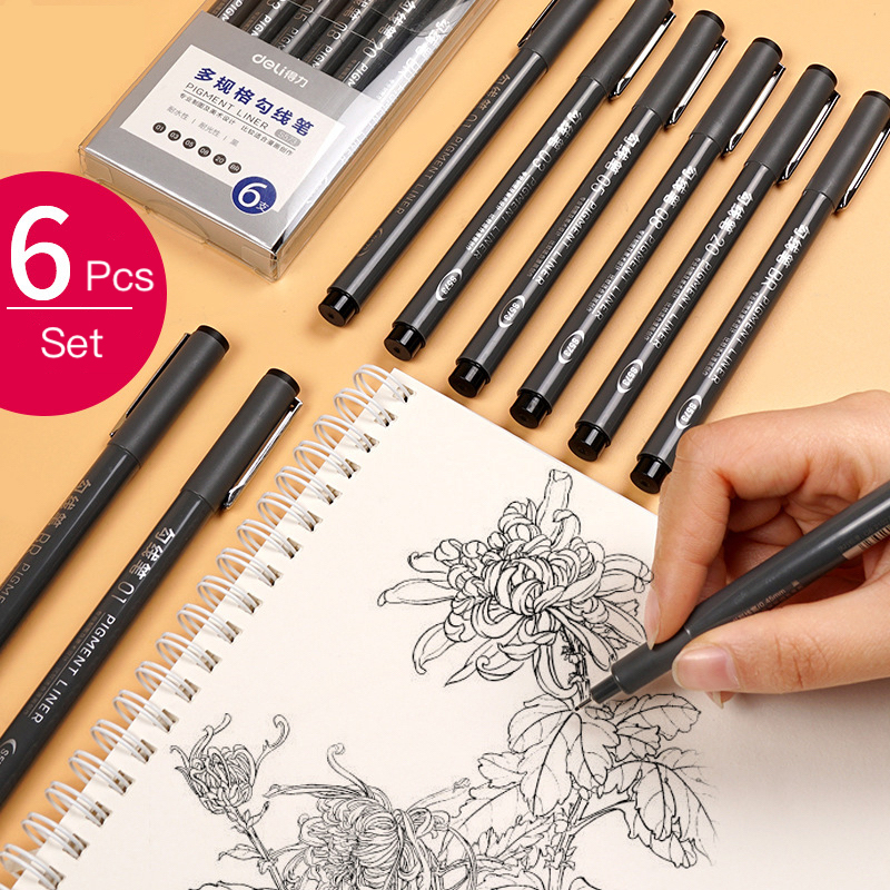6pcs/Set Deli High Quality Art Marker Pen Brush Set Creative Waterproof Drawing Manga Hook Line Sketch Pen Arts Crafts Supplies