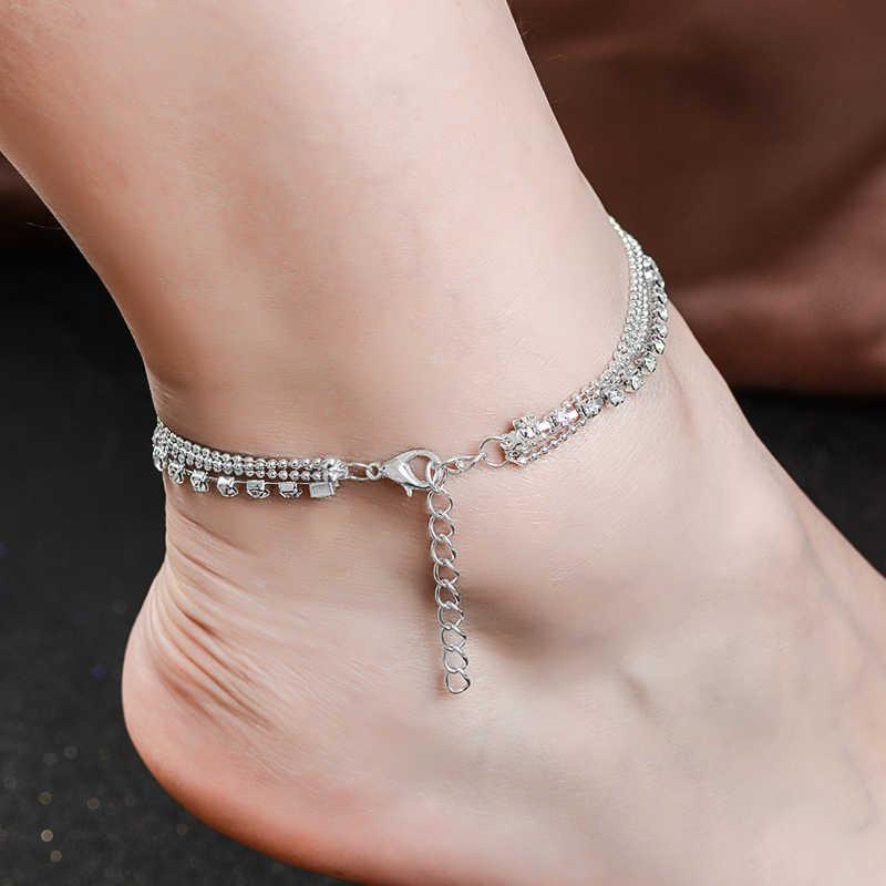 QCOOLJLY แฟชั่นเท้าหลายห่วงโซ่ Anklets สำหรับรองเท้าแตะผู้หญิง Pulseras Tobilleras Mujer จี้ข้อเท้าสร้อยข้อมือเครื่องประดับ
