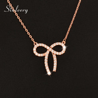 SINLEERY Lovely Tiny Crystal Hollow Bow Bowknot Choker Necklaces Pendants Silver Rose Gold Color Party Jewelry